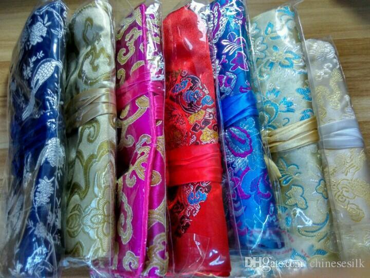 Folding Luxury Silk Brocade Smycken Roll N Gå Kosmetisk Väska Resor Ladies Drawstring Makeup Storage Bag påse