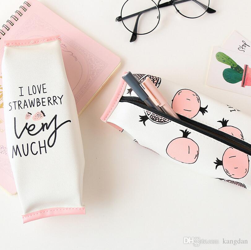 학생 pvc 연필 상자 대용량 가죽 연필 경우 아기 만화 문구 가방 저장 케이스 레이디 메이크업 손 가방