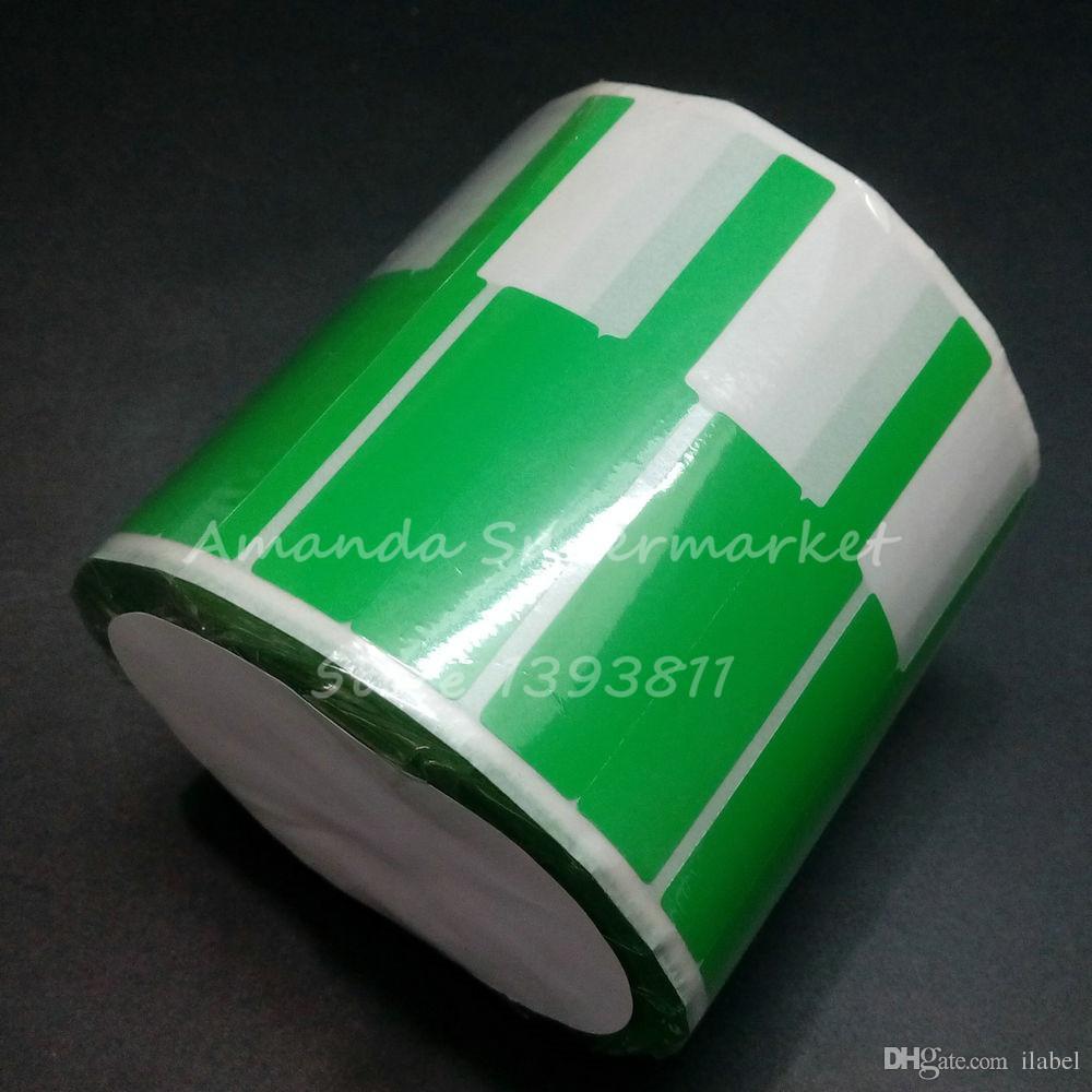 Hight Quanlity 네트워크 케이블 상표 스티커 70 * 24mm 1000 조각 PET 물자 녹색 색깔 P 모양 방수
