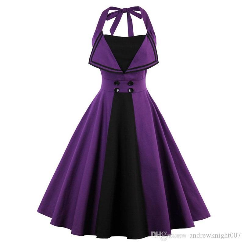 bb6237ffec1 Acheter Nouveau Halter Neck Purple Robe Pin Up Tunique Robe Vintage A Ligne  Sans Manches Bow Mi Longues Midi Dress Femmes Summer Robes DK3055MX De   15.08 Du ...