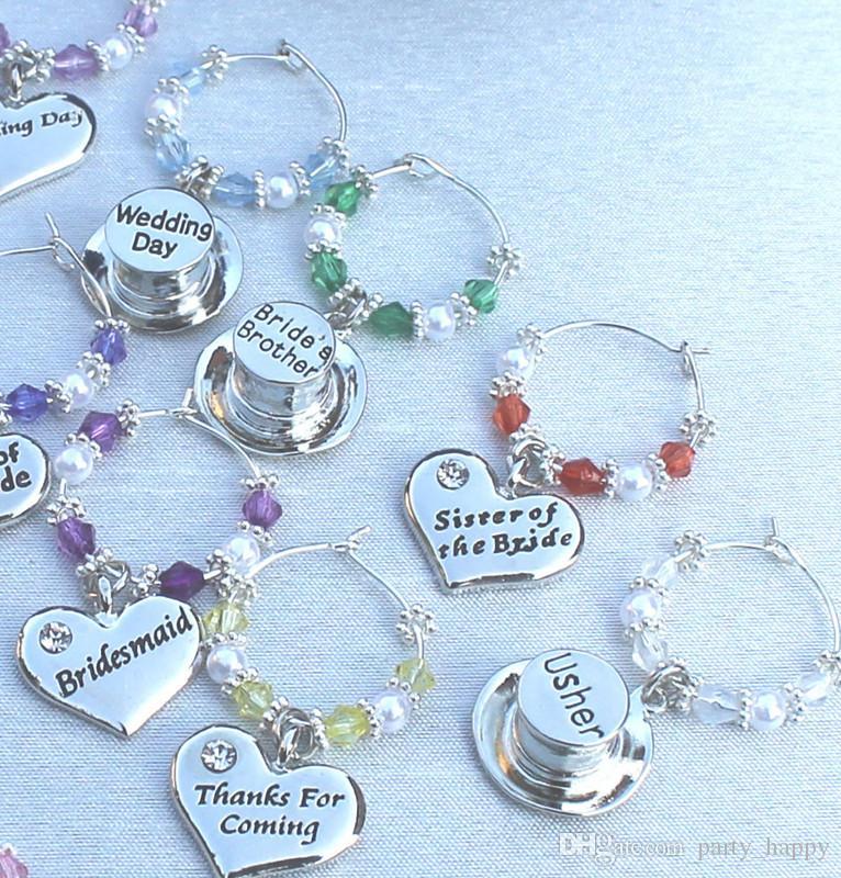 Love Ley Part Pendente a forma di cuore a forma di cuore Pendente occhiali Accessori Tavolo da sposa Decorazioni Vetro Charms Favori all'ingrosso