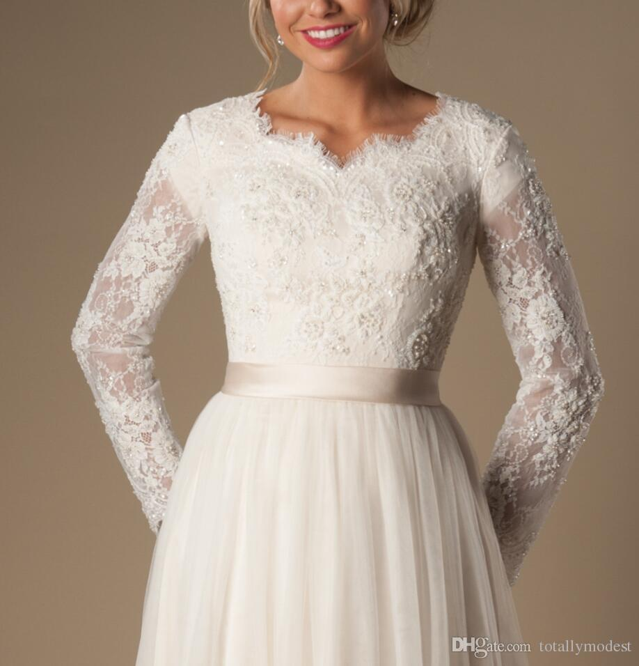 Ivory A-line Beaded Lace Tulle Modest Wedding Dresses With Long Sleeves Scalloped Neck Buttons Up Back Full Sleeves Long Bridal Gowns Modest