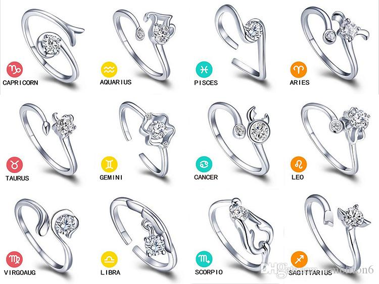 Valentine S Day Gift Zodiac Rings Korean Jewelry 925 Sterling Silver