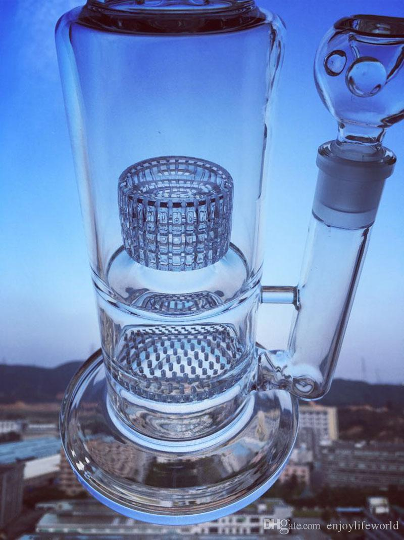 Enjoylife bongs K40 Stable large base patent big tire filter honeycomb filter easy to clean galss bong 15inch glass water pipes