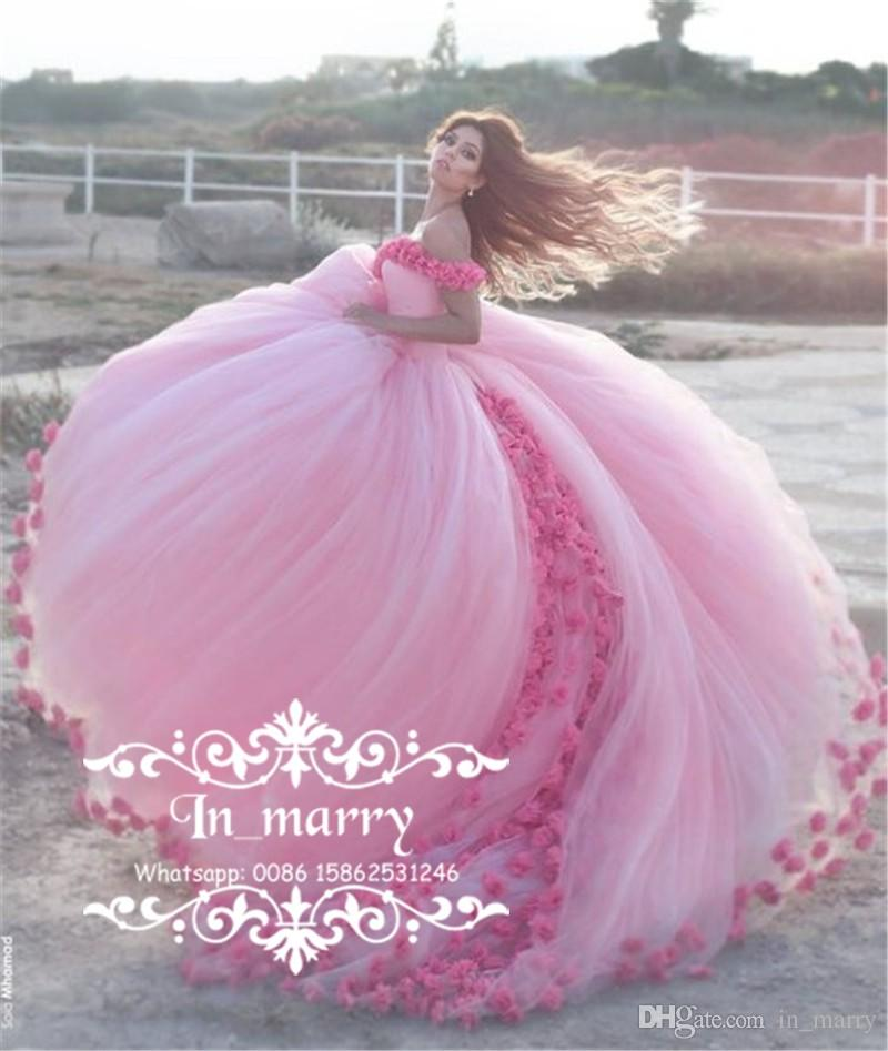 Boho Blush Pink Wedding Dresses 2017 Pretty 3d Flower Lace: Romantic 3D Flowers Cinderella Country Wedding Dresses