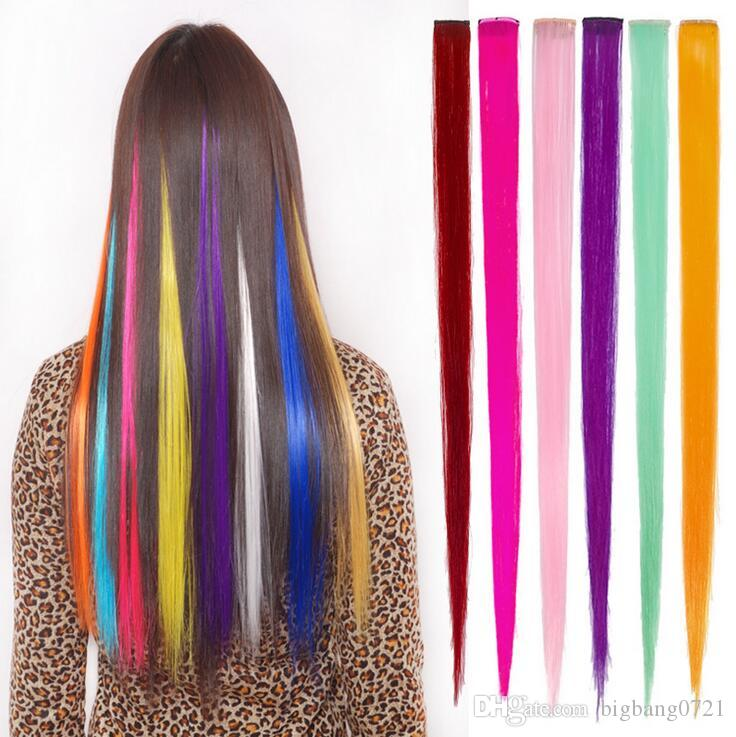 2018 funky streak colorful hair piece synthetic hair extensions see larger image pmusecretfo Images