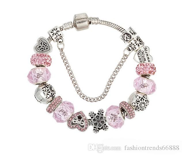 bd8ff414c706b 925 Sterling Silver Murano Lampwork Glass & Pink Crystal Mum Heart European  Charm Beads Pendant Love Crown Fits Pandora Diy Charm bracelets