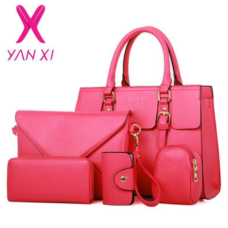 e17356609e Compre Atacado YANXI Nova Bolsa Mulher PU Sacos De Ombro De Couro Senhora  Bolsa + Messenger Bag + Bolsa + Cartão Bag + Key Bag 5 Conjuntos De Alta  Qualidade ...