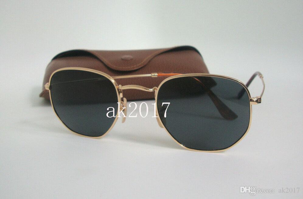 High Quality Mens Hexagonal Metal Sunglasses Irregular Personality ...
