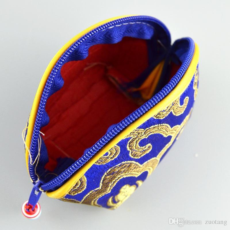 安く幸運な貝殻のジッパーコイン財布ファッション財布シルクブロコード結婚式のキャンディーバッグの花嫁の好意チョコレートボックス卸売/セット