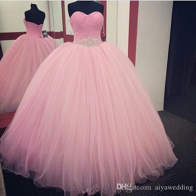 Baby Rosa Quinceanera Kleider Ballkleid 2019 Neues Design Bodenlang Tüll Schärpe Mit Perlen Kristallen Maßgeschneiderte Prom Kleider Abendkleid