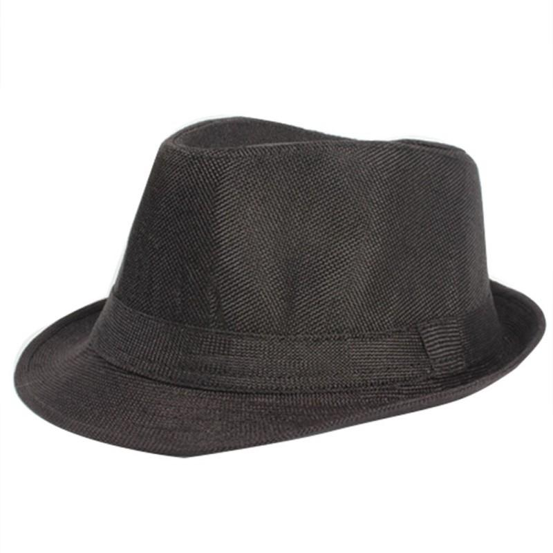 0942a233894 Wholesale- Summer Women Men Wide Brim Sun Hats Unisex Fedora Panama Trilby Straw  Hat Sun Beach Cap Travel Sunhat Black Ribbon Wide Brim Sun Hat Beach Caps  ...