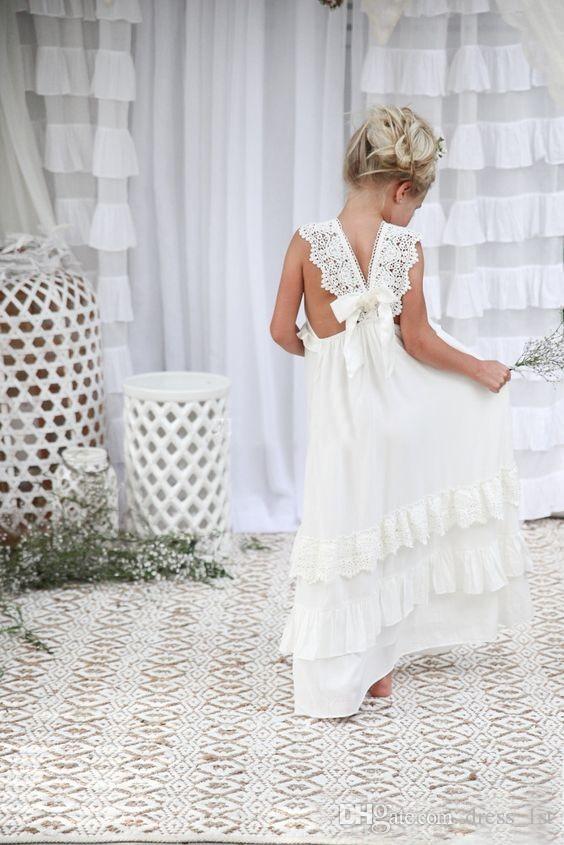 Romántico 2019 recién llegado Boho vestidos de niña de flores para la boda Barato V cuello gasa con cordones con gradas formales niños vestido de boda por encargo