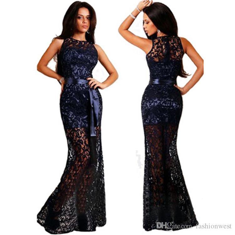 Spitze Sleeveless Langes Kleid Spitze Sleeveless Sexy Formale Cocktailkleid Party Maxi Langes Kleid Ärmelloses Kleid