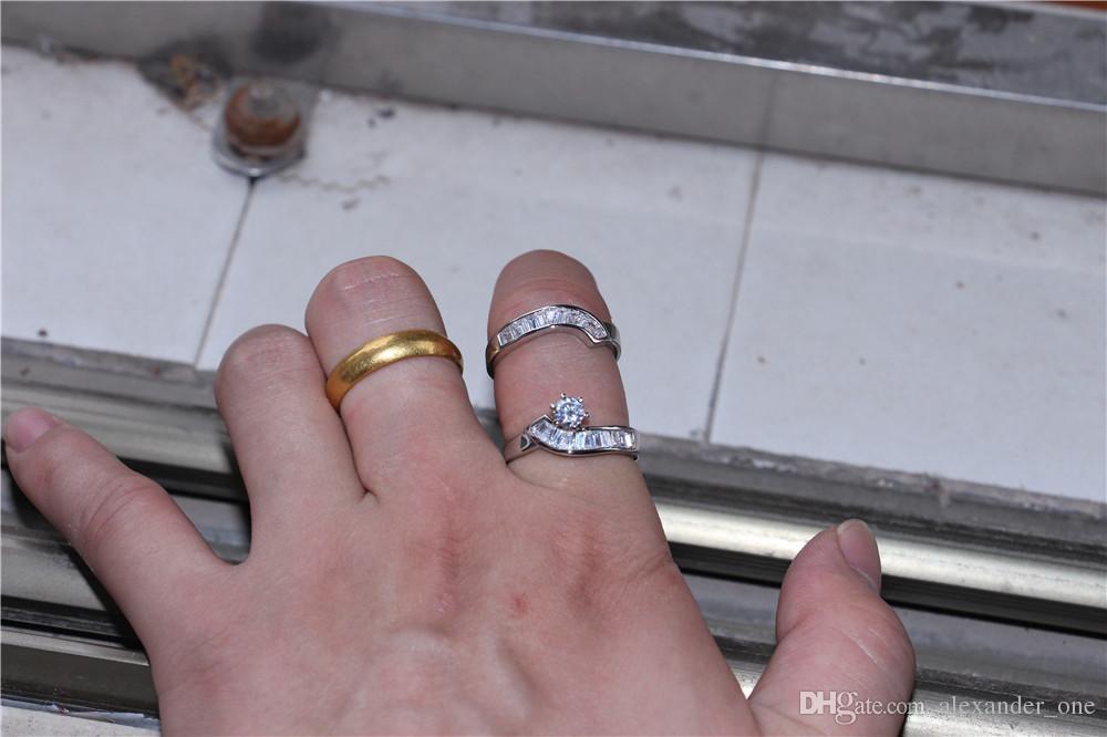 패션 10KT 화이트 골드 여성 여섯 발톱 상감 시뮬레이션 다이아몬드 지르콘 보석 돌 반지 칵테일 밴드 보석 결혼 반지 세트 작성