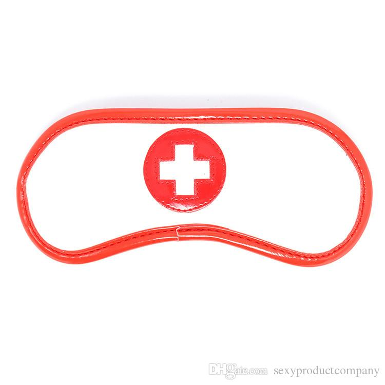 Sexy Nurse Role Play Leather Restraints Set Fetish Bondage Toy Flirting Eye Mask Blindfold Handcuffs Ankle Cuffs SM Hogtie Tool