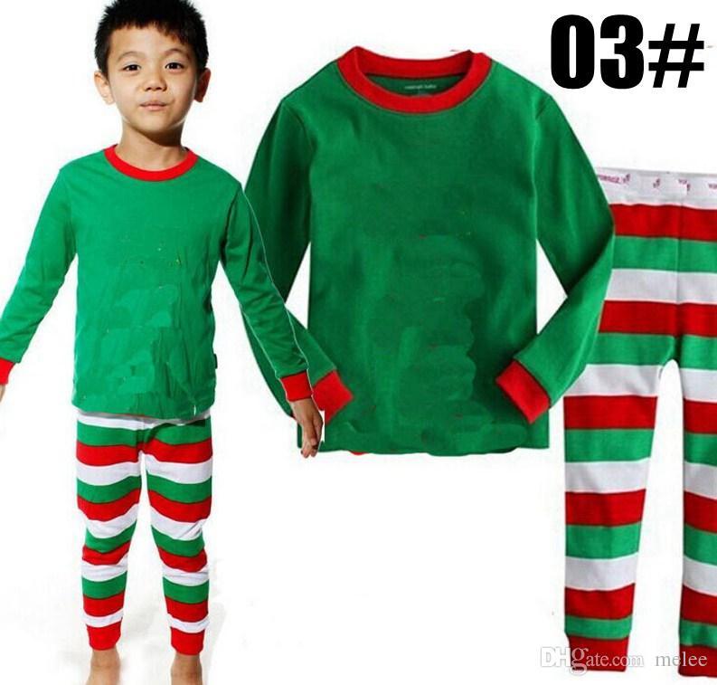 2017 New Christmas Pigiama Manica lunga Pigiama Boy Girl Autunno Inverno Pigiama Bambini Pigiama Set Natale Pigiama Baby Pigiameria bambini Cothes Set
