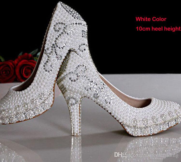 24f3c1aa1 White Pearl Rhinestone Wedding Shoes Platform Women High Heel Shoes Tulip  Design Rhinestone Bridal Dress Shoes Handmade Party Prom Pumps Ivory  Platform ...