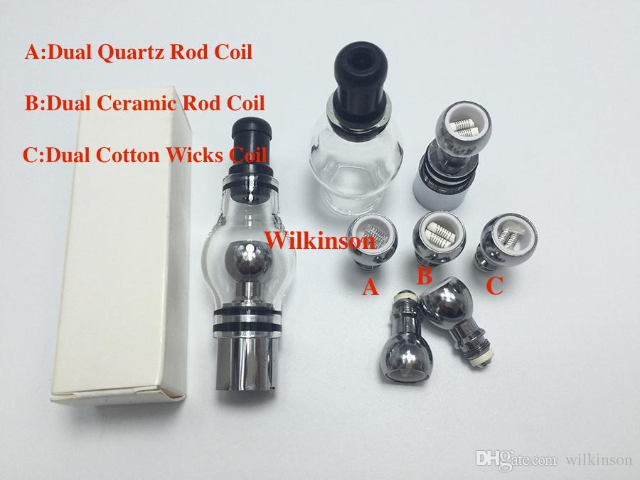 Glass globe atomizer pyrex glass tank Dual Wax Quartz Coil Wax vaporizer pen vapor Cannon Metal Vase electronic cigarette