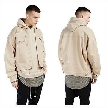 Beige Khaki Denim Ripped Jeans Jacket Mens Hip Hop Swag Street ...