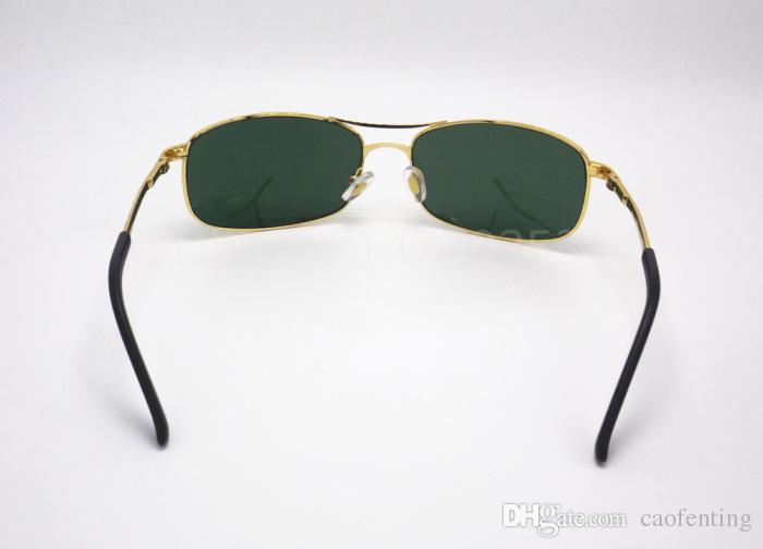 Best Selling Fashion Rectangle Classic Brand Designer Sunglasses For Mens Womens Eyewear Sun Glasses 60mm Gold Frame Green Glass Lenses