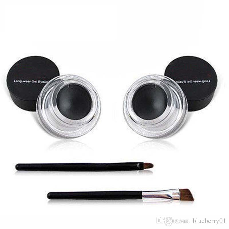 2 in 1 Coffee + Black Gel Eyeliner Make Up Waterproof Cosmetics Set Eye Liner Makeup Eye