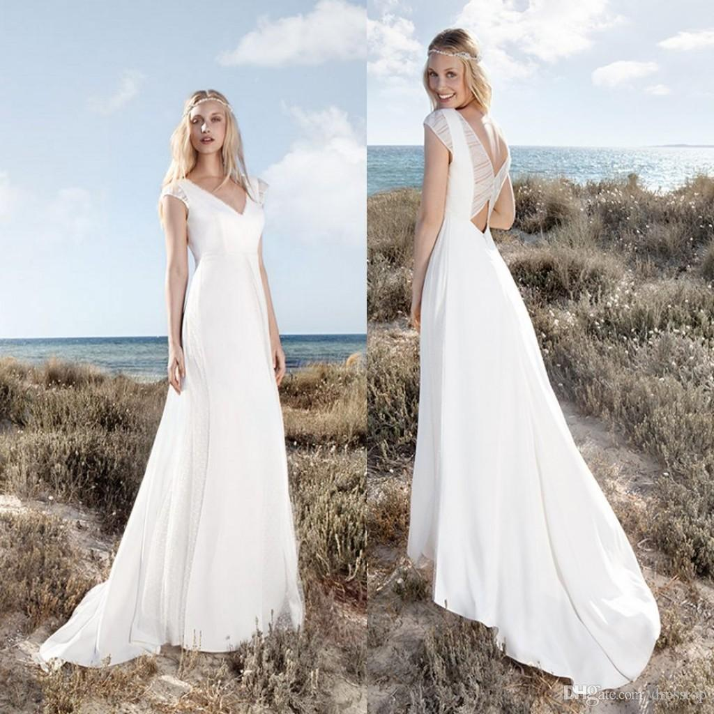 Discount Rembo Styling Beach Wedding Dresses With Cap Sleeves V Neck