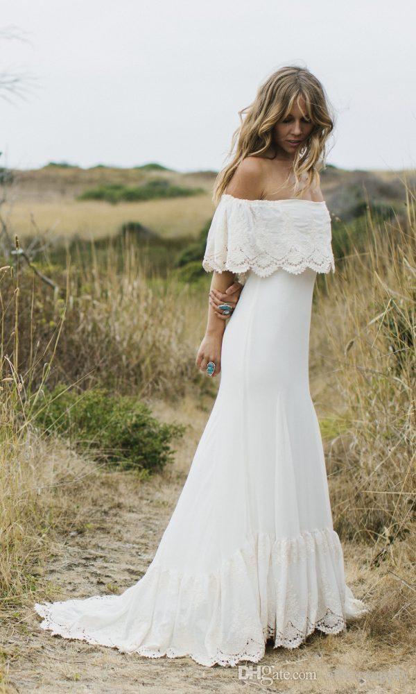 2020 Sexy Pays Boho Style de robes de mariée de l'épaule en dentelle blanche en mousseline de soie Bohême Plus Size Robes de mariée
