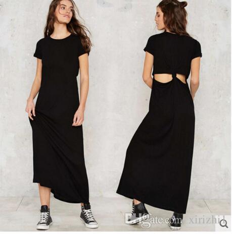 f1641570cde Hollow Out Backless Feminine Dresses European OL Short Sleeve Loose ...