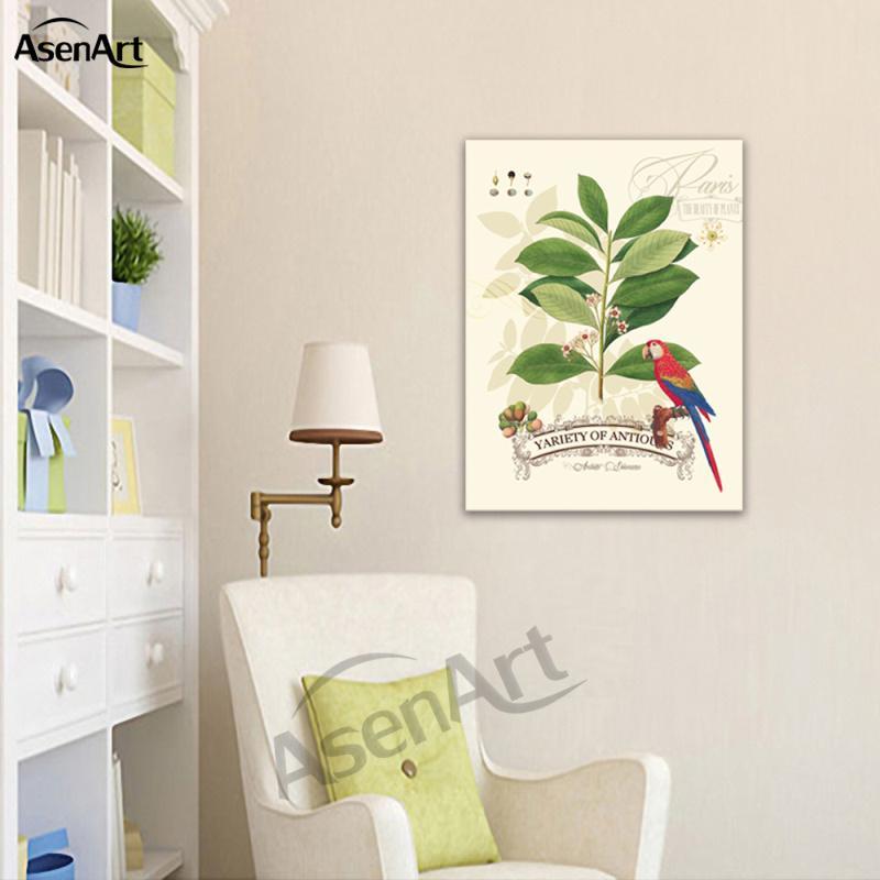 Satın Al Tuval Kuş Boyama Ağaç Dalı Papağan Oturma Odası Yatak Odası