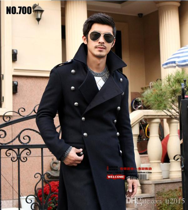 Men's erman generals of World War II vintage long coat wool coat Slim Double-breasted long coat jackets Overcoat /S-3XL
