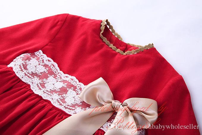 Pettigirl Rouge Boutique Infantile Fille Automne Robe Avec Chapeaux Arc Décoration Dentelle À Manches Longues Vêtements Bébé Au Genou-Lenhht Porter G-DMGD908-889