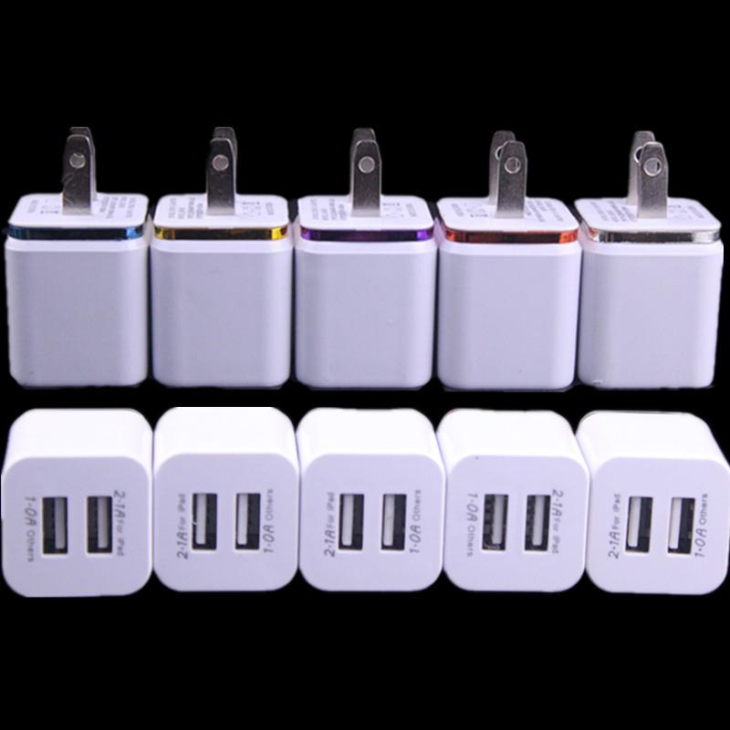 5V 2.1A&1.0A Double USB AC adapter home travel wall charger with dual ports EU US plug cell phone chargers DHL