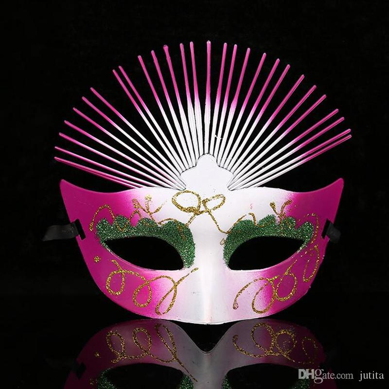 Colorful Painted Fan Shape Mask Women Girls Dance Party Performance Masks Christmas Halloween Masquerade Party Decoration