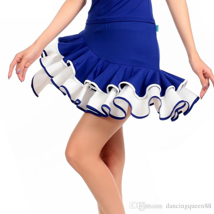 2018 New Latin Dance Dress Black / Blue / Purple / Red Tango Women Latin Dance Skirt M-4XL Latin Salsa Dresses Spedizione gratuita