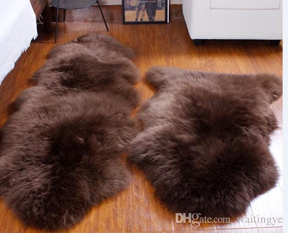 Compre 2p doble alfombra piel de oveja real natural de 65 120cm alfombra de piel de oveja para - Alfombra oveja ...