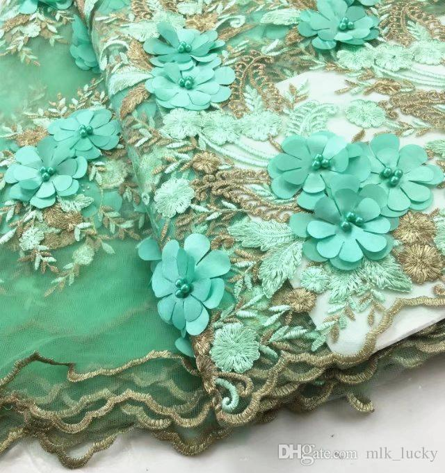 French Laces Fabric 3D Wedding Lace Flower tulle fabric high quality beaded Embroidered Lace Appliques