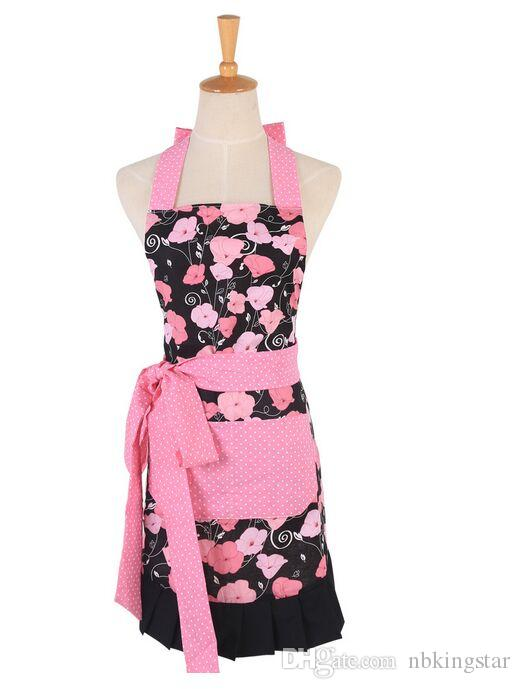 Delantal de cocina retro de algodón mujer coqueta Aqua damasco con volantes Chef Floral delantales de cocina 10 unids / lote envío gratis