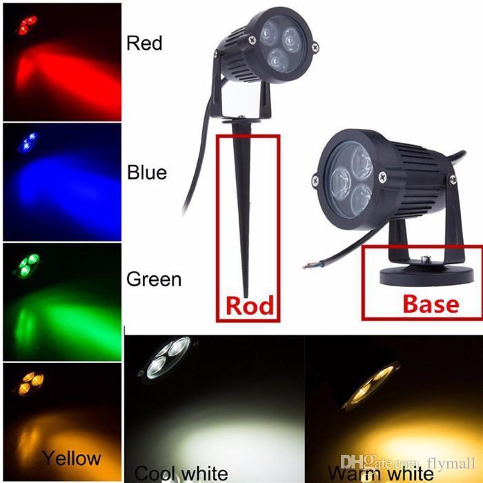 Super brillante 9W LED Lámpara de luz de césped 110V 220V Iluminación exterior impermeable Verde Amarillo Rojo Azul Blanco 3 * 3W Led proyector de césped para jardín