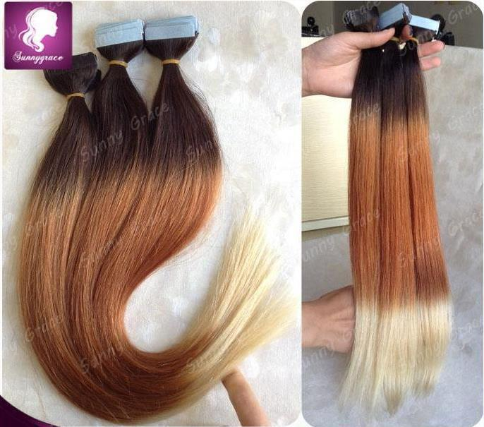 100gpu Tape Skin Weft Human Hair Extensions Straight Ombre Tapes