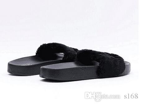 Nuevo RIHANNA LEADCAT FENTY Zapatilla, Rihanna Leadcat Fenty Sandalias con correas de piel sintética Fashions Mujeres Fenty Zapatilla Sandalias con correas negras Fenty Slides