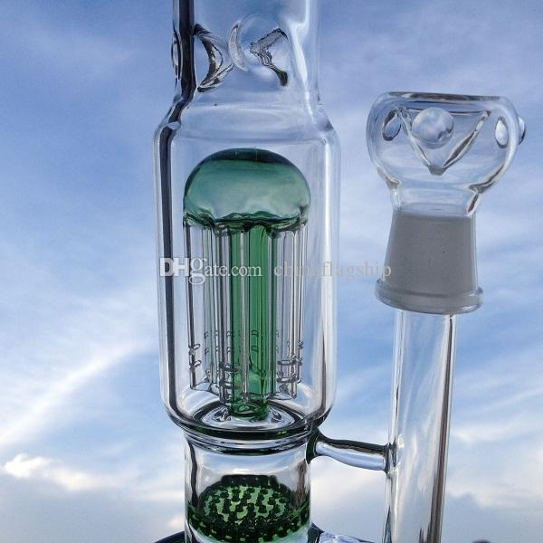 """DHL free 12"""" tall scienfitic glass water pipe features single layer honeycomb percolators as well as a 9-arm reinforced tree percolator"""