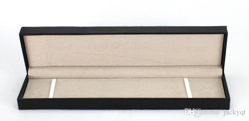 Scatola di lusso originale rettangolo la collana del libro di orologi Top gioielli regalo braccialetto braccialetto display collana in pelle nera custodia cuscino