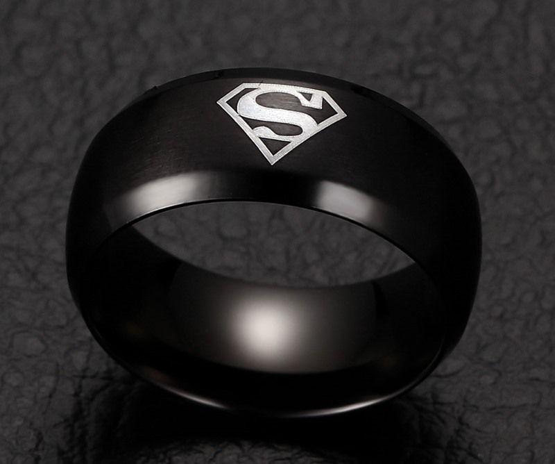 Stainless Steel Classical Super Hero Logo Men's Band Rings Superhero Mark Men's Fashion Signet Rings Titanium Stainless Steel Wedding Band