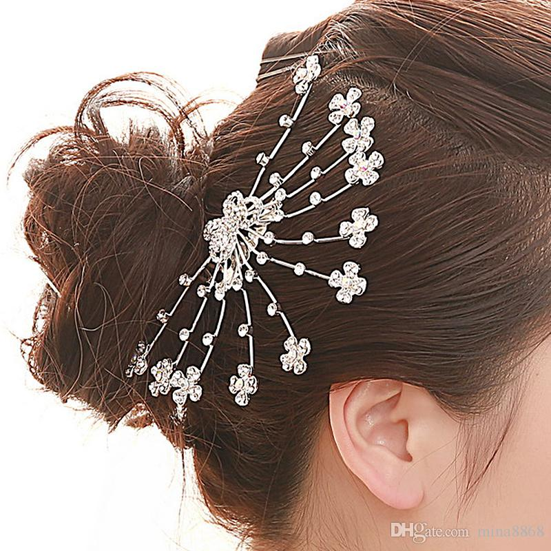 Sparkly Butterfly and floral rhinestone combs Headpiece wedding bridal tiaras & crown jewelry for Hairbands hair accessories DHF527