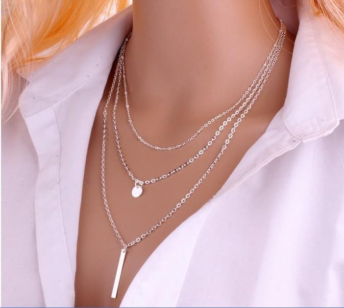 Simple moda collar para las mujeres de largo Y Bar del encanto del collar de la moneda de múltiples capas minimalista de las lentejuelas de la cadena para niñas oro, plata