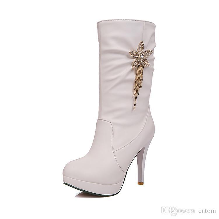 Stiefel PU Frauen Schuhe Größe kleine Yards dünne Fersen hohe Ferse 10CM Plattform 2cm dünne Fersen EUR Größe 31-43