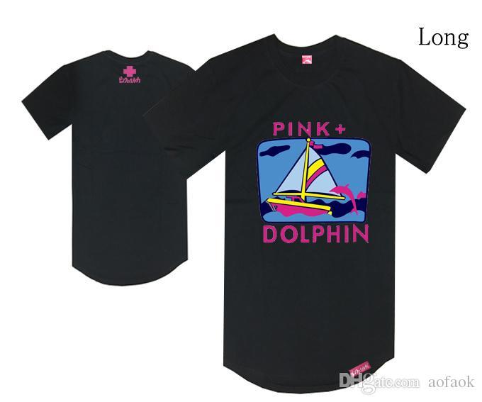 2018 Mens Summer Tops Tees Short-sleeved long section Man,pink dolphin tshirts sail blue sea waves hip hop fashion round neck T shirt men