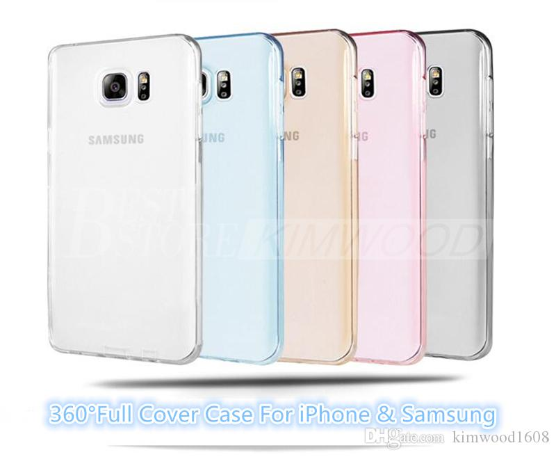 360 Degree Case Colorful Full Cover For iPhone 6s Samsung S7 edge TPU Front And Back Case Best Body Protector For iPhone