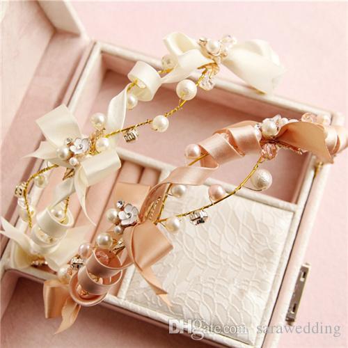 Wedding Bridal Bow Headband Flower Pearl Alloy Crown 2018 Romantic Bow Pearl Hairbands Bridal Tiaras Handmade Bridal Hair band Accessories